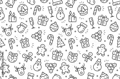 Obraz Seamless pattern with Christmas icons. Isolated on White background - fototapety do salonu