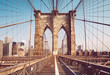 canvas print picture - Brooklyn Bridge in the morning, color toning applied, New York City, USA.