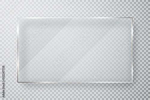 Fototapeta Glass plates set. Glass banners on transparent background. Flat glass. Vector illustration obraz na płótnie