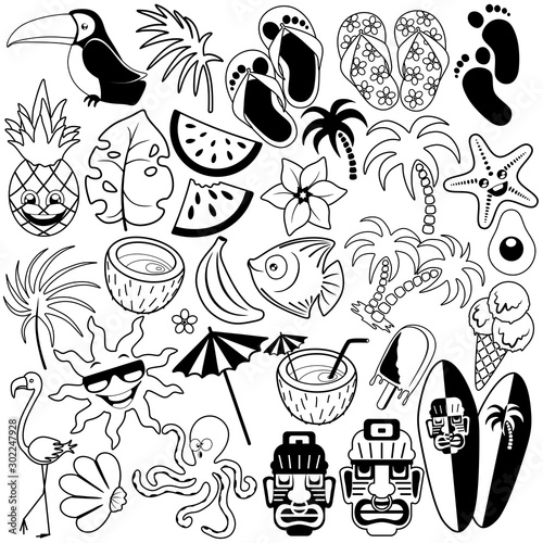 Tuinposter Draw Tropical Summer Doodles Black and White Set of 31 Vector Characters isolated