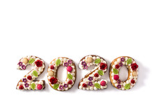 2020 Cake Isolated On White Background. New Year Concept.