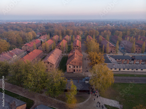 Aerial of Concentration camp Kz Auschwitz I in Poland Birkenau drone shot in Oswiecim Canvas-taulu
