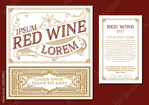 Fototapety, obrazy: Vintage thin line style red wine label. Winemaking business branding and identity design elements.