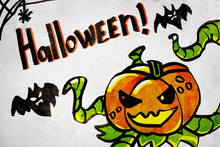 3d Rendering Of Cartoon Evil Pumpkin With Bats And 'Halloween' Sign On White Background