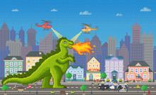 Pixel Game Retro Style, Dragon...