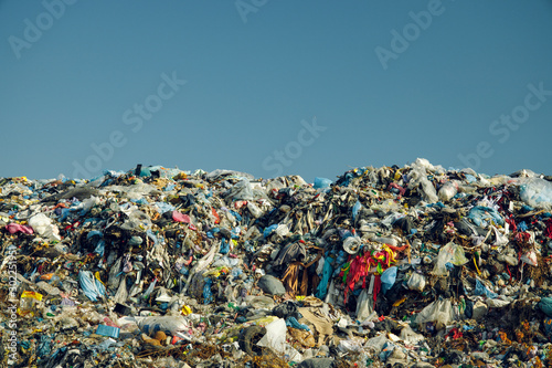 Photo huge and awful dump garbage mountain pollution and ecological disaster actual no