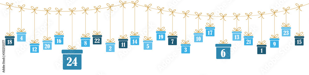 Fototapeta advent calendar 1 to 24 on christmas presents