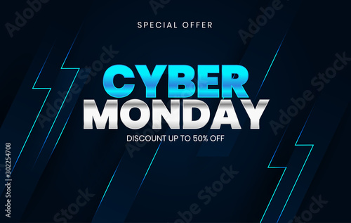 Fotografía  Sale banner template design, Cyber Monday special offer sale up to 50% off