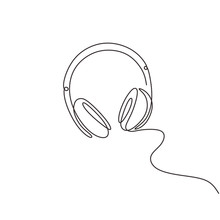 One Line Drawing Of Headphone Speaker Device Gadget Continuous Minimalism Lineart Design Isolated On White Background.