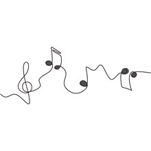 One Line Drawing Of Music Note...