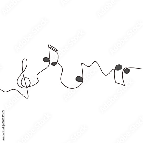 Obraz na płótnie one line drawing of music notes isolated vector object continuous simplicity lineart design of sign and symbols