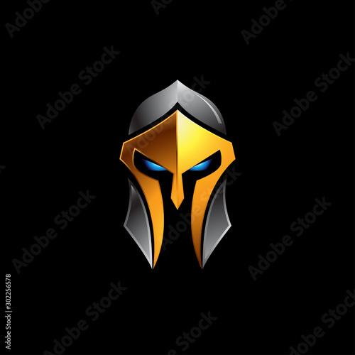Fotografie, Obraz Spartan helmet logo vector illustration on black background