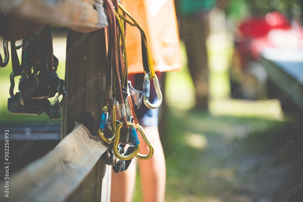 Fototapety, obrazy: Closeup shot of rock climbing gear with a blurred background