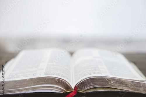Obraz Closeup shot of an open bible with a blurred background - fototapety do salonu