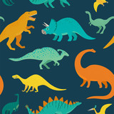 Fototapeta Dinusie - Hand drawn seamless pattern with dinosaurs. Perfect for kids fabric, textile, nursery wallpaper. Cute dino design. Vector illustration.