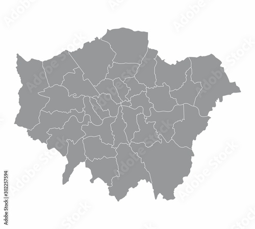 Obraz na plátně A gray London map divided into regions