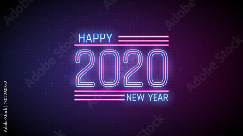 Hapy new year 2020 in neon light text on digital  red and blue color background