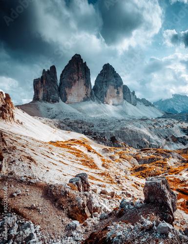 Fototapeta Great view of alpine rocky massif. Location National Park Tre Cime di Lavaredo, Dolomite, South Tyrol, Italy, Europe. obraz