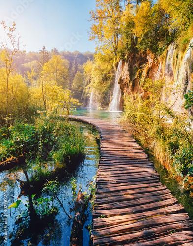 Naklejka premium Majestatyczny widok na turkusową wodę i słoneczne promienie. Lokalizacja Park Narodowy Jezior Plitwickich, Chorwacja, Europa.