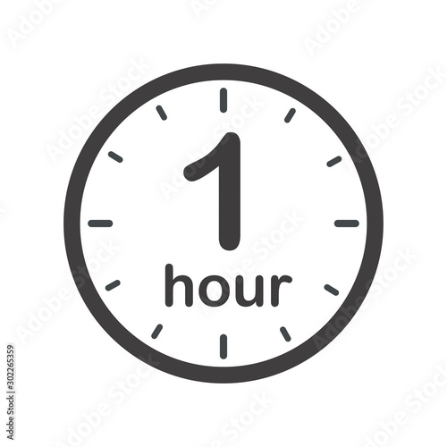 One hour round icon with arrow. Black and white vector symbol. Fototapeta