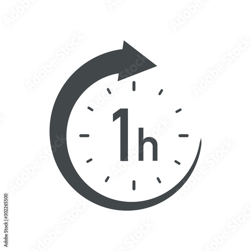 Slika na platnu One hour round icon with arrow. Black and white vector symbol.