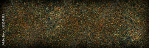 Rusty dark metal background texture or backdrop, banner size. - 302267585