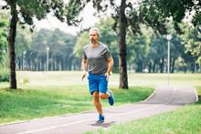 Senior Man Running Exercising ...