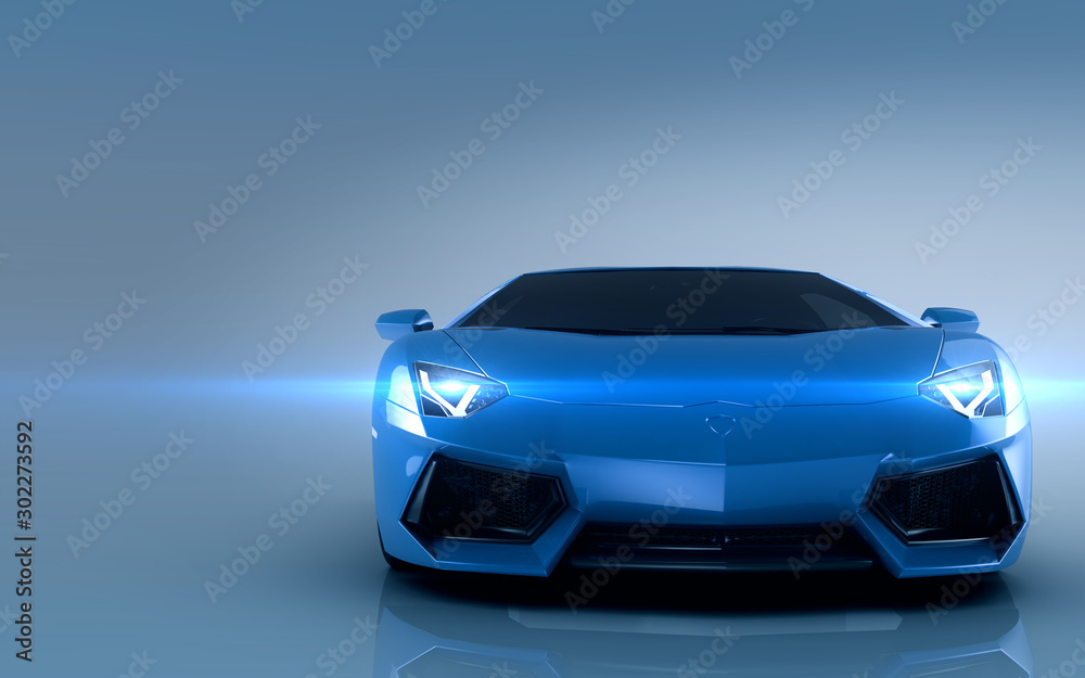 Fototapety, obrazy: Sports car. Blue sport car on blue background.