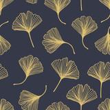 Kwiecisty dekoracyjny bezszwowy wzór z złotym ginkgo biloba liśćmi na szarym tle. Może być stosowany do tapet, wypełnień deseniem, tekstyliów, stron internetowych, powierzchni, tekstur. Wektor Eps 10 - 302274973