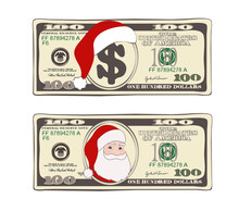 Set Of 100 Dollar, Christmas Bill One Hundred Dollar With Santa Claus And Red Hat.