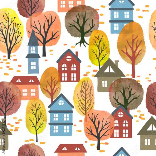 bezszwowy-wektorowy-jesieni-miasta-wzor-z-akwareli-drzewami-i-domami-jesienny-krajobraz