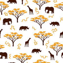 Seamless African Pattern With Wild Animals In Savannah.