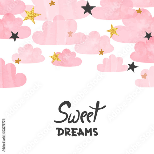 Vector pink watercolor clouds and stars background. Sweet dreams poster. Baby shower card.