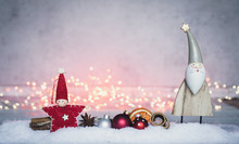 Christmas Card Decorated With Bokeh And Lights In The Snow And Copy Space