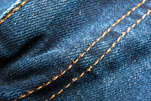 Blue Jeans Fabric Macro Seam Pattern Background / Denim Jeans Texture / Blue Jeans Texture For Any Background.