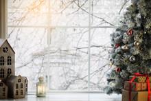 Fairytale Winter Christmas Window And Christmas Object