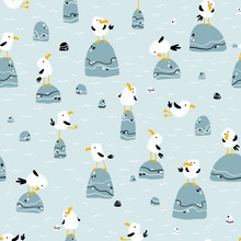 Seagulls On The Stones. Vector Seamless Pattern In Hand Drawn Scandinavian Cartoon Style. The Illustration In A Limited Palette Is Ideal For Printing On Fabric, Textiles, Wrapping Paper For Children