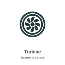 Turbine Vector Icon On White Background. Flat Vector Turbine Icon Symbol Sign From Modern Electronic Devices Collection For Mobile Concept And Web Apps Design.