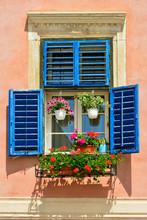 Windows In The Old Town Of Sibiu. Transylvania, Romania
