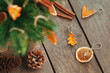 canvas print picture - Closeup of dried carved citrus slices for Christmas tree on wooden rustic background