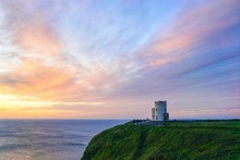 Sunset At O'Brien Tower, Cliffs Of Moher, County Clare, Ireland