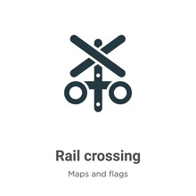 Rail Crossing Vector Icon On W...