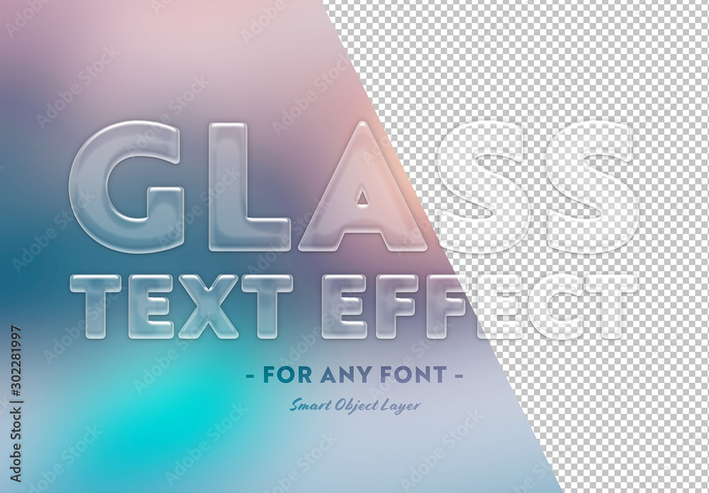 Fototapety, obrazy: Transparent Glass Text Effect