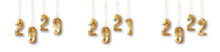 Hanging Golden And Shiny Number New Year 2020, 2021 And 2022 With Shadow On White Background Set