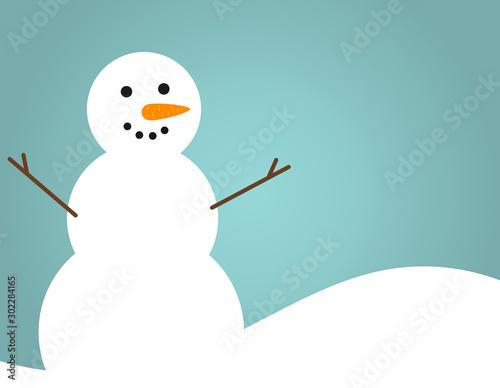 Fotografie, Obraz Happy snowman blue winter seasonal background.