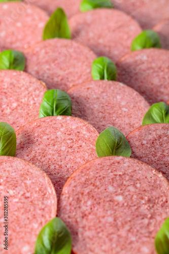 Obraz na plátně  Sliced smoked sausage with green basil leaves.