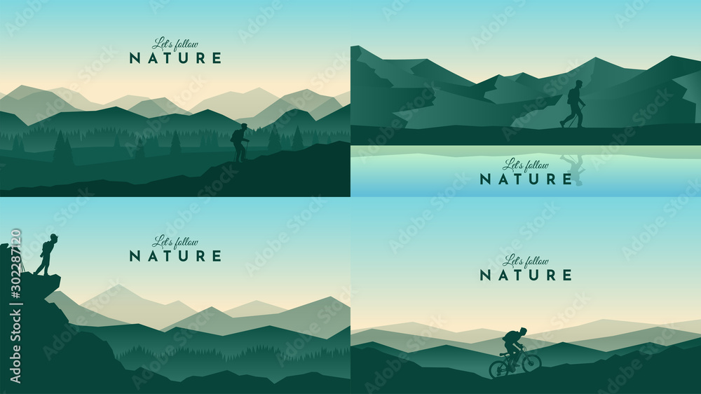 Fototapety, obrazy: Vector landscapes set. Travel concept of discovering, exploring and observing nature. Hiking. Adventure tourism. The guy watches nature, riding at mountain bike, climbing to the top and going hike