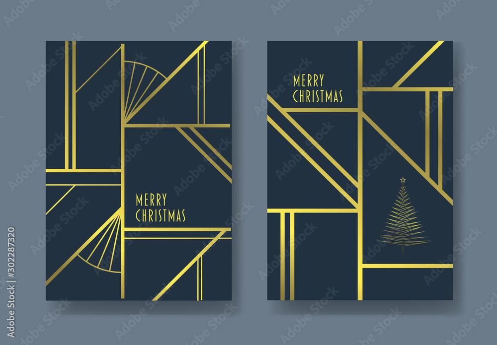 Fototapety, obrazy: Art Deco Christmas Card Layouts