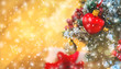 Christmas background greeting card with beautiful decor. Selective focus.