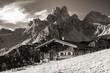 canvas print picture - Die schönsten Alm und Berghütten in sepia